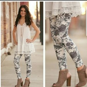Soft Gray Floral Leggings